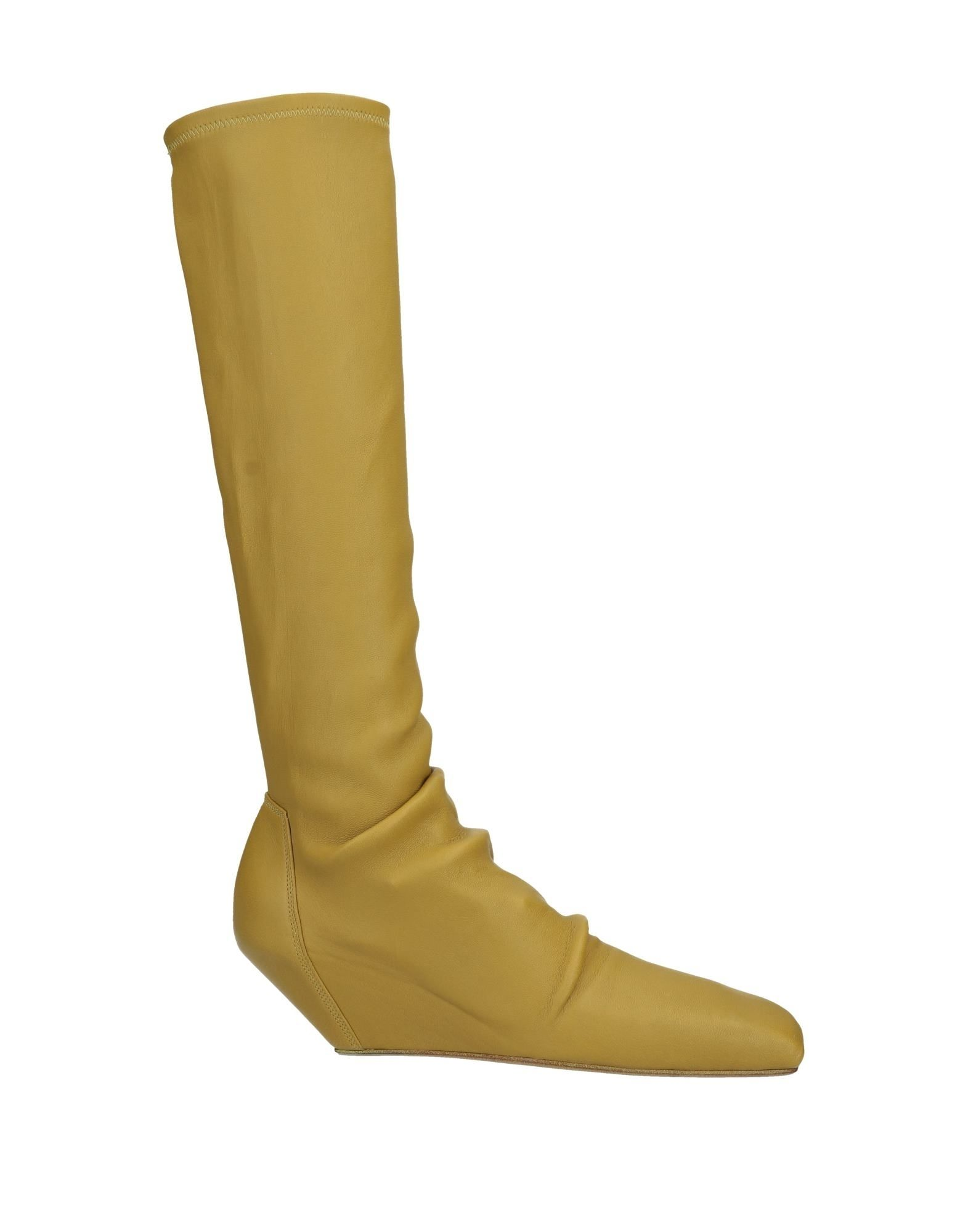 RICK OWENS Boots. leather, textured leather, no appliqués, solid color, wedge heel, internal wedge heel, square toeline, fully lined, leather/rubber sole, contains non-textile parts of animal origin. Soft Leather