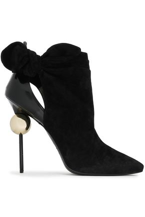 ROGER VIVIER Cutout knotted leather and suede ankle boots