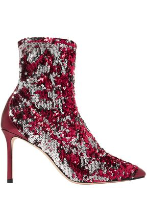 JIMMY CHOO Sequined stretch-knit sock boots