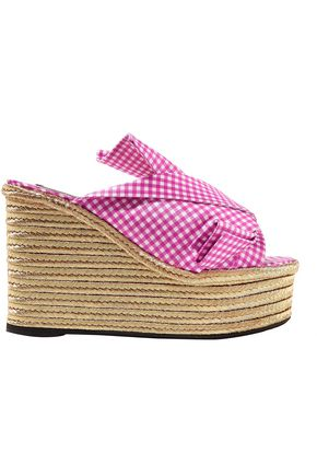 N°21 Knotted gingham satin espadrille wedge sandals