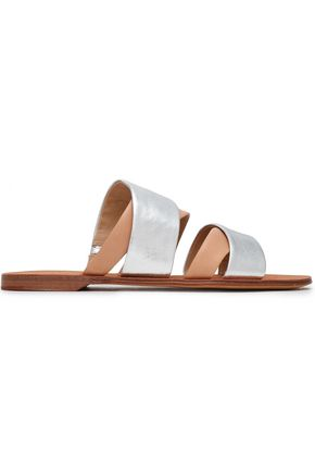 DIANE VON FURSTENBERG Metallic leather slides