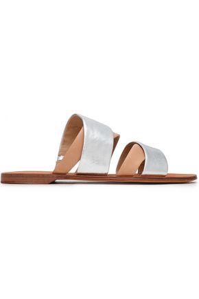 DIANE VON FURSTENBERG Metallic leather slides