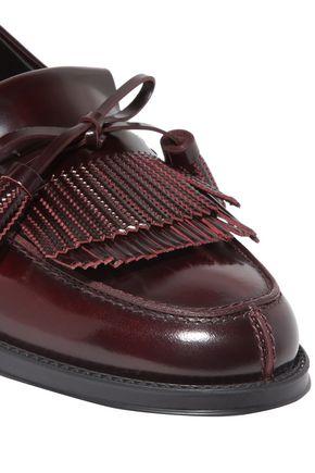 TOD'S Fringe-trimmed glossed-leather mocassins
