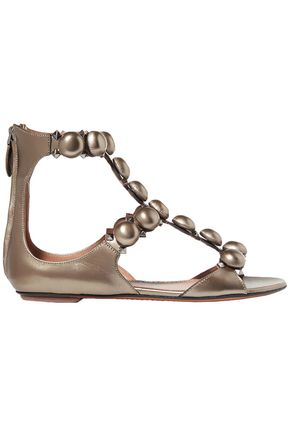 ALAÏA Embellished metallic leather sandals