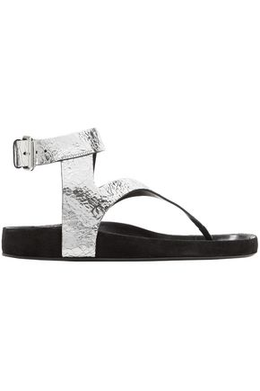 ISABEL MARANT Elwina metallic cracked-leather sandals