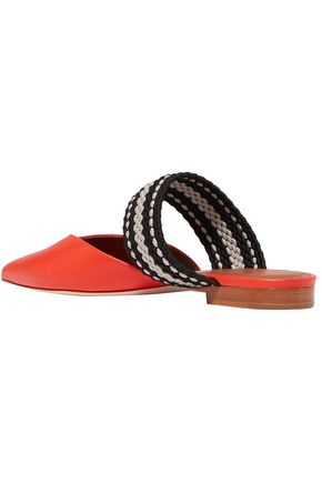 MALONE SOULIERS Hannah leather and woven slippers