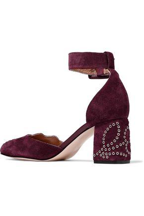 RED(V) Eyelet-embellished suede Mary Jane pumps