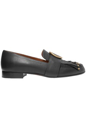 CHLOÉ Olly fringed embellished textured-leather loafers