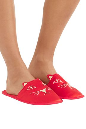 CHARLOTTE OLYMPIA Embroidered satin slippers