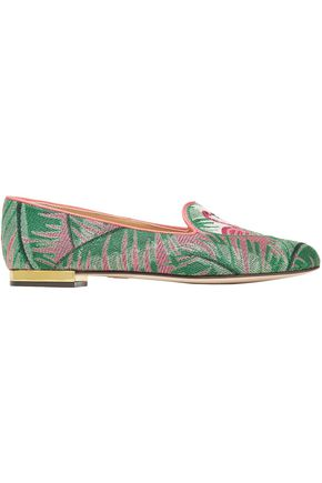 CHARLOTTE OLYMPIA Embroidered canvas loafers