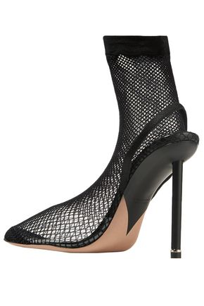 ALEXANDER WANG PVC-paneled stretch-mesh slingback pumps