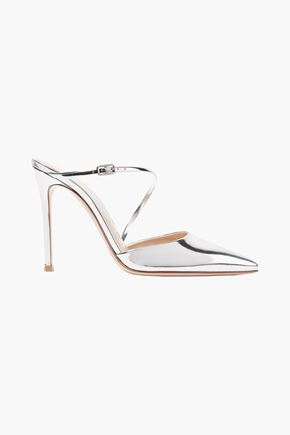 GIANVITO ROSSI Manhattan metallic leather mules