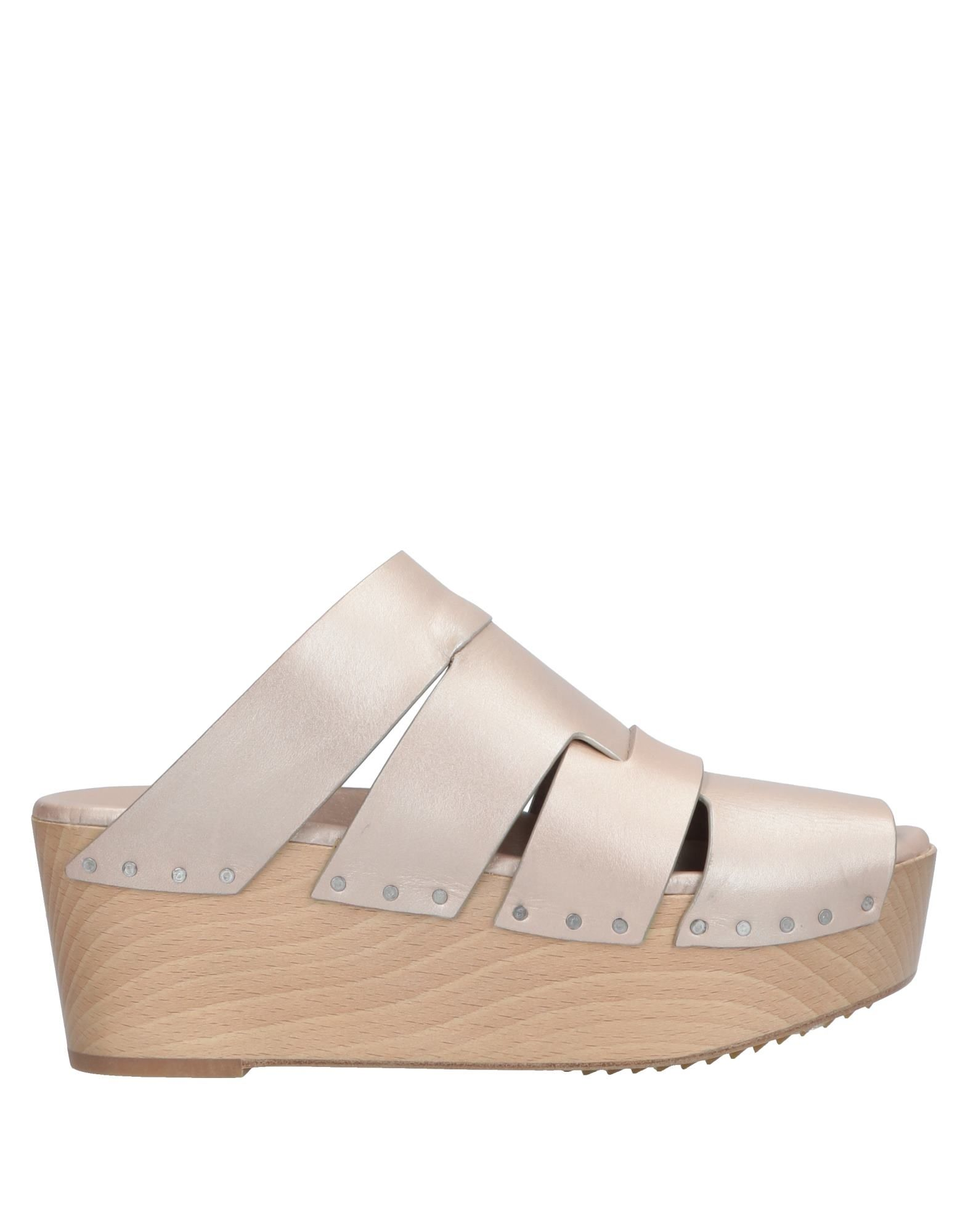 RICK OWENS Mules. no appliqués, solid color, round toeline, wedge heel, wooden wedge, leather lining, leather/rubber sole, contains non-textile parts of animal origin. Soft Leather