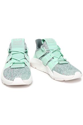 ADIDAS ORIGINALS Prophere faux suede and marled stretch-knit sneakers