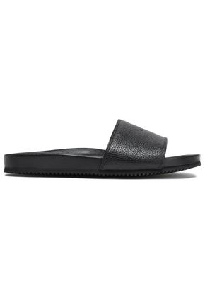BUSCEMI Textured-leather slides