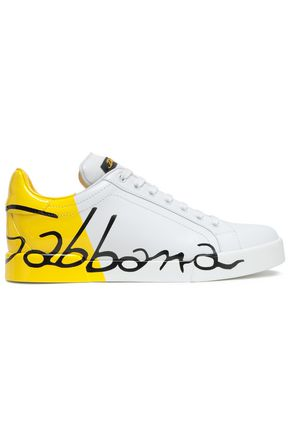 DOLCE & GABBANA Portofino printed smooth and patent-leather sneakers