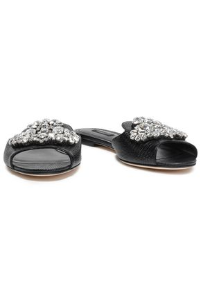 DOLCE & GABBANA Embellished lizard-effect leather slides