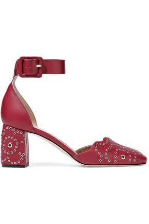 RED(V) Eyelet-embellished leather pumps