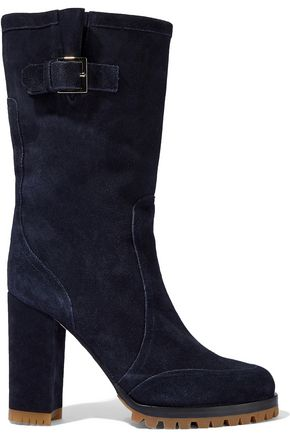 RED(V) Buckled suede boots