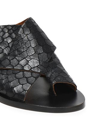 ATP ATELIER Snake-effect leather mules