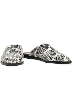 ATP ATELIER Snake-effect leather slippers