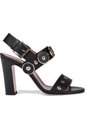 RED(V) Appliquéd eyelet-embellished leather sandals