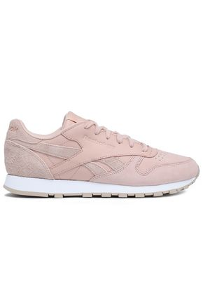 REEBOK Classic suede-trimmed perforated leather sneakers