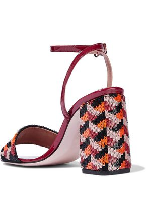 RED(V) Sequined canvas and patent-leather sandals
