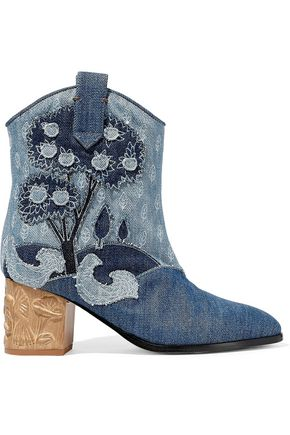 RED(V) Embroidered denim ankle boots