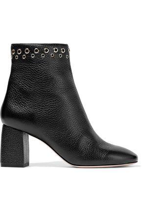RED(V) Eyelet-embellished pebbled-leather ankle boots