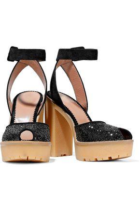 RED(V) Glitter-paneled suede platform sandals