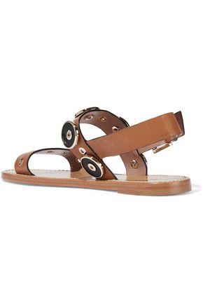 RED(V) Embellished leather slingback sandals
