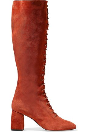 RED(V) Lace-up suede knee boots