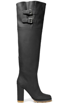 VALENTINO GARAVANI Buckled rubber over-the-knee boots