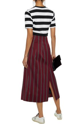 GANNI Embroidered striped cotton-jersey T-shirt