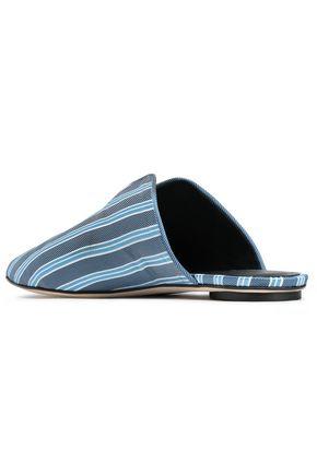 TIBI Striped twill slippers