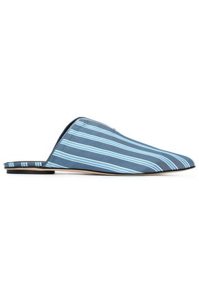 TIBI Striped twill slippers