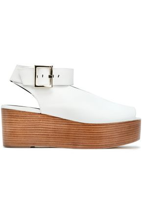 TIBI Leather wedge sandals