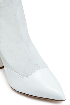 TIBI Leather-paneled suede sock boots