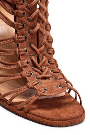 SCHUTZ Lace-up suede sandals