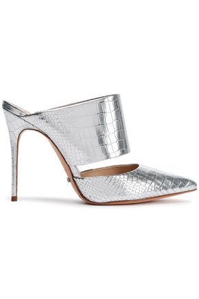 SCHUTZ Cutout metallic croc-effect leather mules