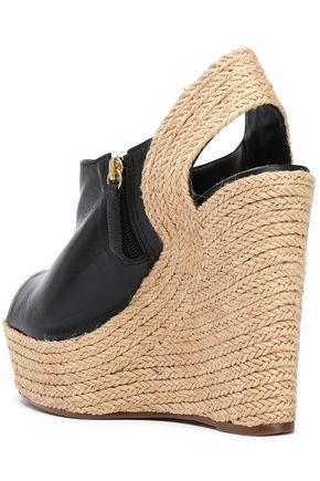 SCHUTZ Leather platform wedge sandals