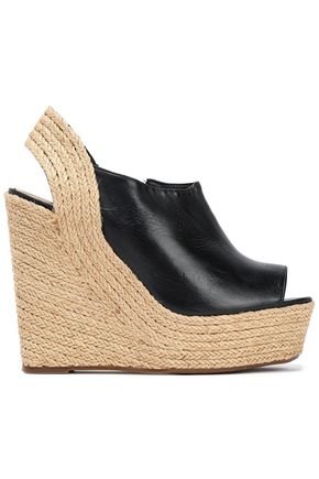 SCHUTZ Leather platform wedge sandals