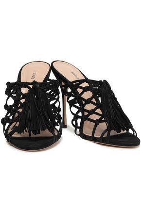 SCHUTZ Lily knotted tasseled suede mules