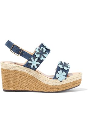 CASTAÑER Rosana floral-appliquéd suede espadrille wedge sandals
