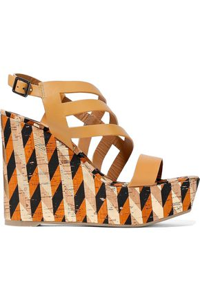 CASTAÑER Veronica cutout leather and printed cork wedge sandals