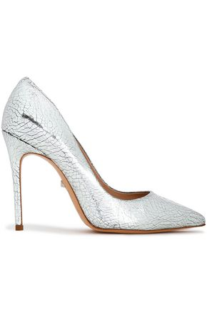 SCHUTZ Metallic cracked-leather pumps