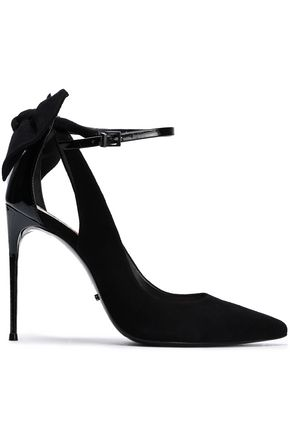 SCHUTZ Bow-embellished suede and patent-leather pumps