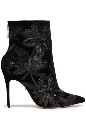 SCHUTZ Moama sequined velvet ankle boots