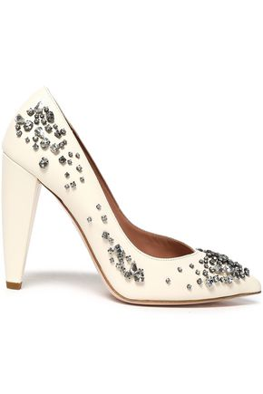 RED(V) Crystal-embellished leather pumps